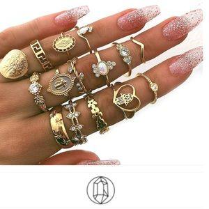 Jewelry - Just In🎉15Pcs Hearts/Fatima/Cross/Leaf Ring Set
